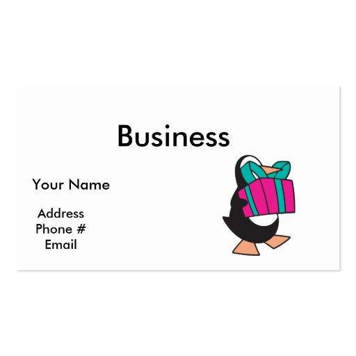 pingüino con el presente tarjetas de visita
