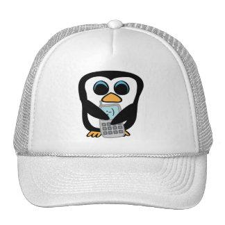 Pingüino con el teléfono móvil gorras