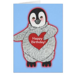 Pingüino con feliz cumpleaños del corazón tarjeta de felicitación