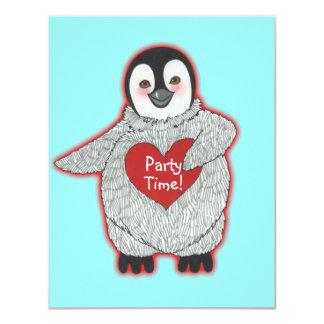 Pingüino con la invitación de la fiesta de
