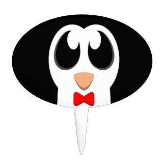 Pingüino con la pajarita roja figura para tarta