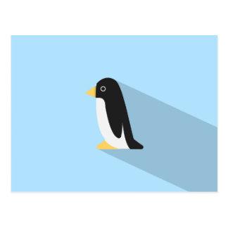 Pingüino con la sombra larga postal