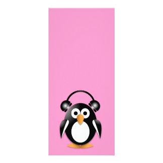 Pingüino con los auriculares lona