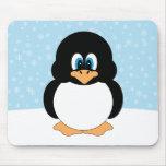 Pingüino con los copos de nieve Mousepad Alfombrillas De Ratones