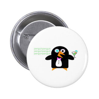 pingüino con martini pin redondo de 2 pulgadas
