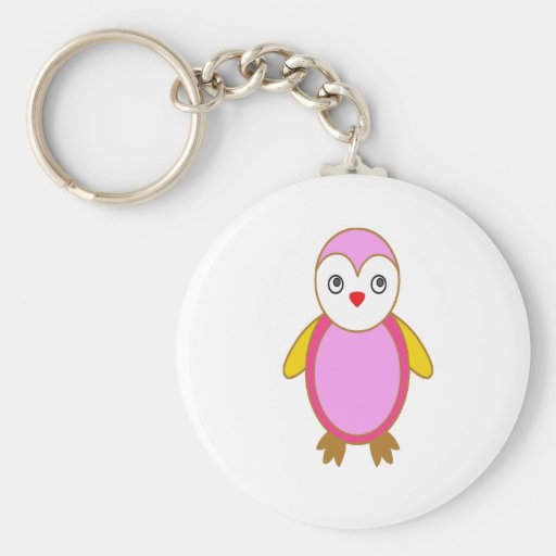Pingüino con rosa del color llavero redondo tipo pin