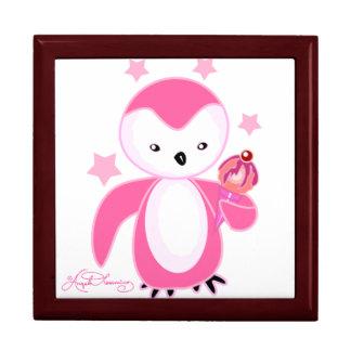 Pingüino con rosa del helado cajas de recuerdo
