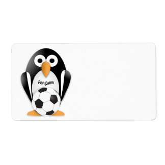 Pingüino con un balón de fútbol etiquetas de envío