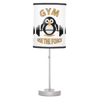 Pingüino con un barbell lámpara de mesilla de noche