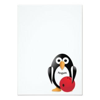 """Pingüino con un cuenco de los bolos invitación 5"""" x 7"""""""