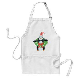 Pingüino con un delantal de la guirnalda del navid