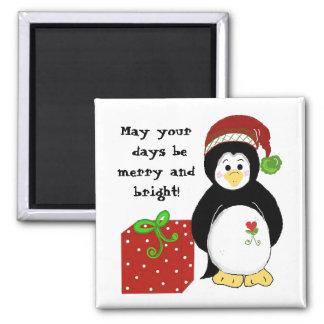 Pingüino con un mensaje del día de fiesta imán cuadrado