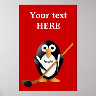 Pingüino con un palillo de hockey posters