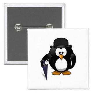 Pingüino con un paraguas y un gorra pin
