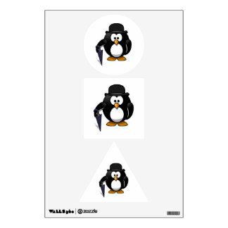 Pingüino con un paraguas y un gorra