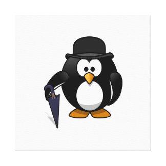 Pingüino con un paraguas y un gorra impresion de lienzo