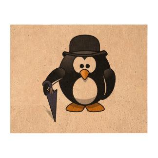 Pingüino con un paraguas y un gorra impresión en corcho
