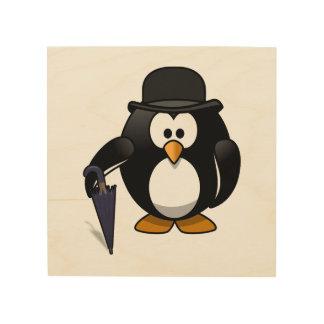 Pingüino con un paraguas y un gorra impresiones en madera