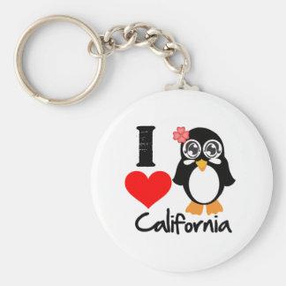 Pingüino de California - amor California de I Llavero Redondo Tipo Pin