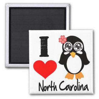 Pingüino de Carolina del Norte - amor Carolina del Imán Cuadrado