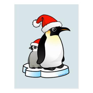 Pingüino de emperador de Santa Tarjeta Postal