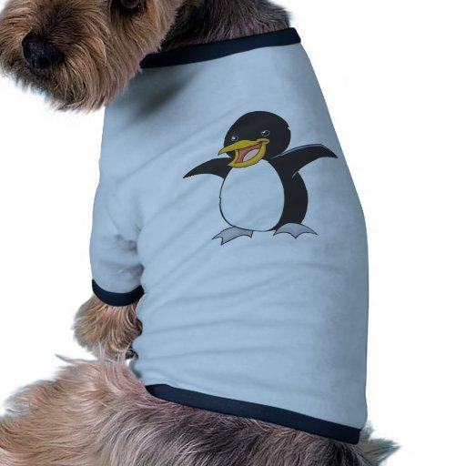 Pingüino de emperador feliz camiseta con mangas para perro