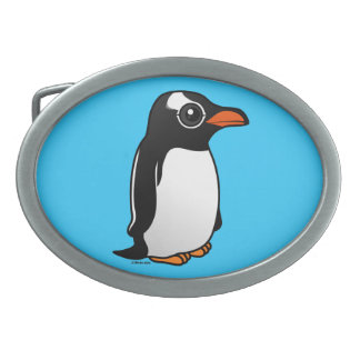 Pingüino de Gentoo Hebilla De Cinturón Oval