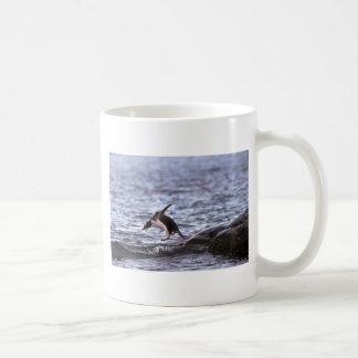 Pingüino de Gentoo que salta en el agua Tazas