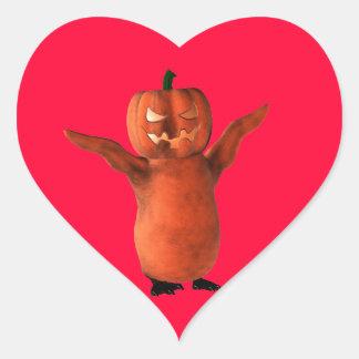 Pingüino de Halloween Pegatina En Forma De Corazón