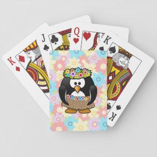 Pingüino de Hula del dibujo animado con las flores Baraja De Póquer