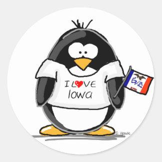 Pingüino de Iowa Etiquetas Redondas