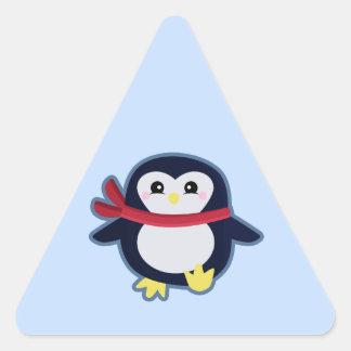 Pingüino de Kawaii Pegatina Triangular