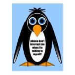 pingüino de la actitud postales