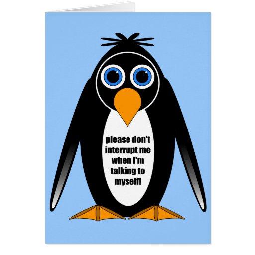 pingüino de la actitud tarjeta de felicitación