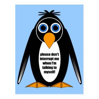 pingüino de la actitud tarjeta postal