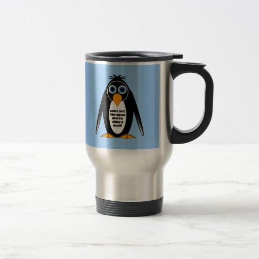 pingüino de la actitud tazas de café