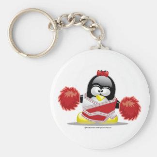 Pingüino de la animadora llavero redondo tipo pin