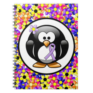 Pingüino de la cinta de la lavanda libretas espirales