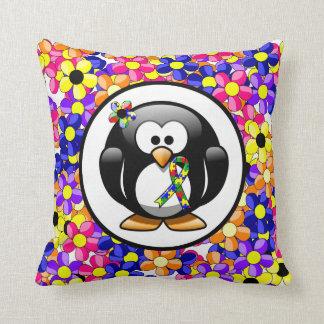 Pingüino de la cinta del rompecabezas cojín