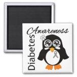 Pingüino de la conciencia de la diabetes imán cuadrado