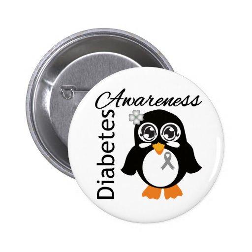 Pingüino de la conciencia de la diabetes pin redondo de 2 pulgadas