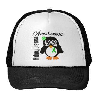 Pingüino de la conciencia de la enfermedad de riñó gorro de camionero