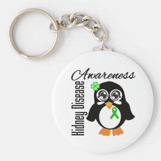 Pingüino de la conciencia de la enfermedad de riñó llavero personalizado