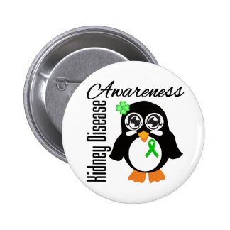 Pingüino de la conciencia de la enfermedad de riñó pin redondo 5 cm