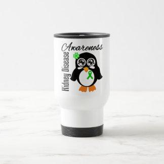 Pingüino de la conciencia de la enfermedad de riñó tazas de café