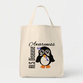 Pingüino de la conciencia de la enfermedad del ALS Bolsa Tela Para La Compra