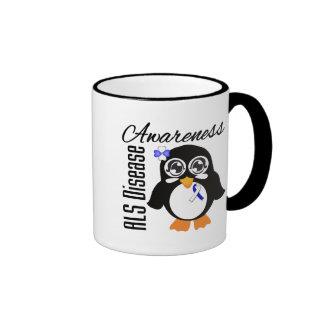 Pingüino de la conciencia de la enfermedad del ALS Tazas De Café