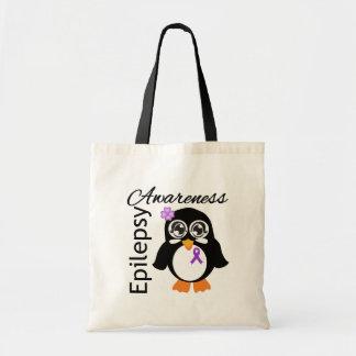 Pingüino de la conciencia de la epilepsia bolsa tela barata