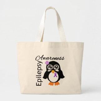 Pingüino de la conciencia de la epilepsia bolsa tela grande