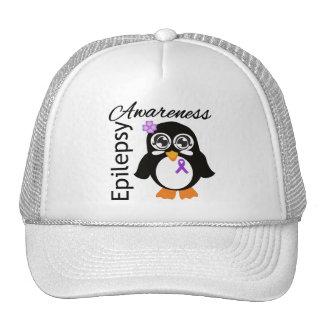 Pingüino de la conciencia de la epilepsia gorras de camionero